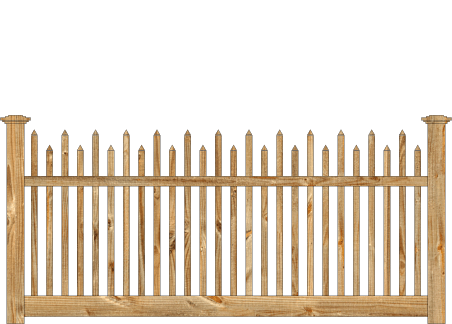 Spaced Picket Wood Fence - Cedar Victorian Alternating image