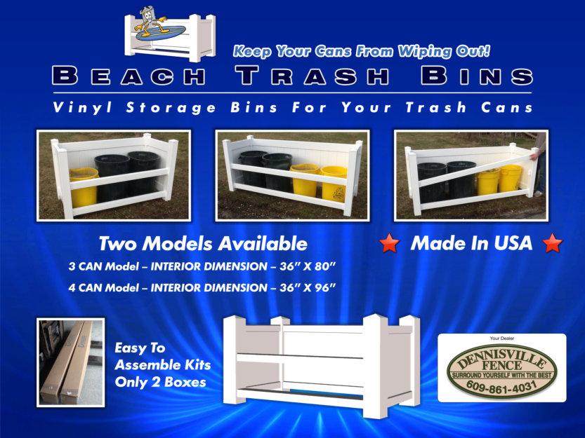 Beach Trash Bins - Outdoor vinyl trash can enclosure image