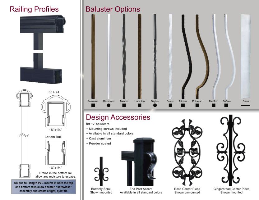 Aluminum Railing Profiles, Baluster Options, and Design Accessories image