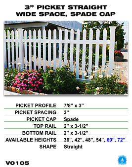 """Vinyl Fence - Legacy Open Top Picket - 3"""" Picket Straight Wide Space with Spade Cap image"""