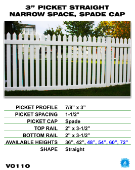"""Vinyl Fence - Legacy Open Top Picket - 3"""" Picket Straight Narrow Space with Spade Cap image"""