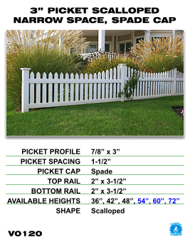 """Vinyl Fence - Legacy Open Top Picket - 3"""" Picket Scalloped Narrow Space with Spade Cap image"""
