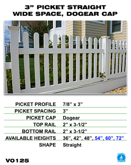 """Vinyl Fence - Legacy Open Top Picket - 3"""" Picket Straight Wide Space with Dog Ear Cap image"""