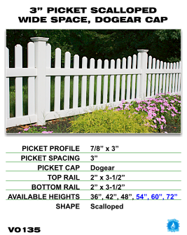 """Vinyl Fence - Legacy Open Top Picket - 3"""" Picket Scalloped Wide Space with Dog Ear Cap image"""