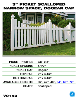 """Vinyl Fence - Legacy Open Top Picket - 3"""" Picket Scalloped Narrow Space with Dog Ear Cap image"""