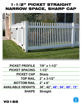 """Vinyl Fence - Legacy Open Top Picket - 1-1/2"""" Picket Straight Narrow Space with Sharp Cap image"""