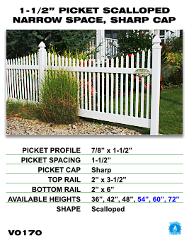 """Vinyl Fence - Legacy Open Top Picket - 1-1/2"""" Picket Scalloped Narrow Space with Sharp Cap image"""