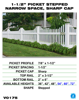 """Vinyl Fence - Legacy Open Top Picket - 1-1/2"""" Picket Stepped Narrow Space with Sharp Cap image"""