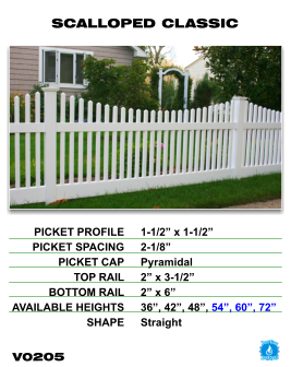 Vinyl Fence - Legacy Open Top Picket - Scalloped Classic image