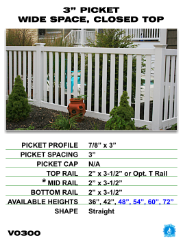 """Vinyl Fence - Legacy Closed Top Picket - 3"""" Picket Wide Space with Closed Top image"""