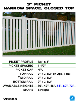 """Vinyl Fence - Legacy Closed Top Picket - 3"""" Picket Narrow Space with Closed Top image"""