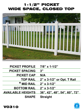 """Vinyl Fence - Legacy Closed Top Picket - 1-1/2"""" Picket Wide Space with Closed Top image"""