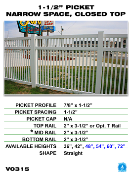 """Vinyl Fence - Legacy Closed Top Picket - 1-1/2"""" Picket Narrow Space with Closed Top image"""