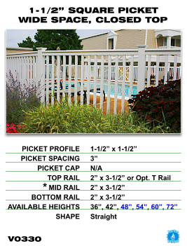 """Vinyl Fence - Legacy Closed Top Picket - 1-1/2"""" Square Picket Wide Space with Closed Top image"""