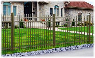 Aluminum Fence - Haven Series in front of house image