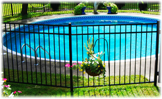 Aluminum Fence - Home Series in front of swimming pool image