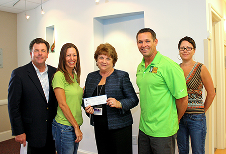 Photo of Dennisville Fence's Kristi Collins and members of the Dean Randazzo Cancer Organization with Shore Medical Employees