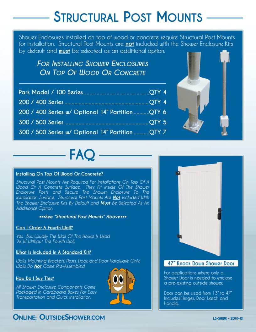 Outdoor Shower Enclosures - Structural Post Mounts and FAQs image