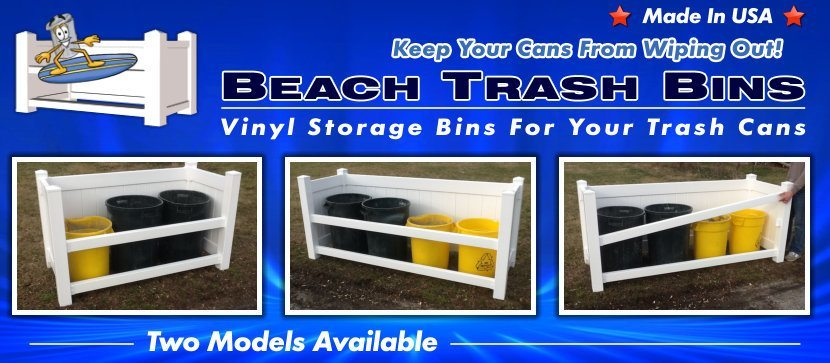 Vinyl Beach Trash Bins to keep your trash cans in image