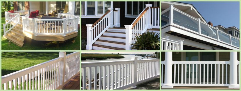 Vinyl Railing Montage showing deck railing, wood topped vinyl railing, glass railing and traditional, american, and contemporary vinyl railing styles image