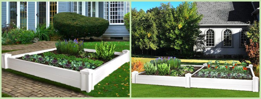 Single and Double Raised Garden Beds shown in white montage image
