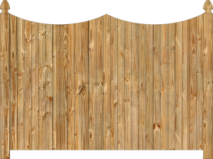 Wood fence, cedar double concave virginian privacy fence section, large image