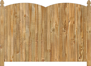 Wood fence, cedar double convex virginian privacy fence section, large image