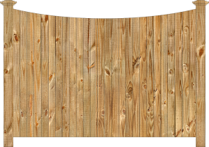 Wood fence, cedar single concave virginian - w210, privacy fence section, large image
