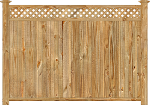 Wood fence, cedar tongue and groove with diagonal lattice privacy fence section, large image