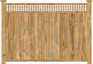 Wood fence, cedar tongue and groove with square lattice privacy fence section, large image